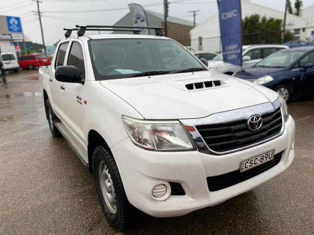 Used Toyota Hilux KUN26R MY14 SR Double Cab Wickham, 2014 Toyota Hilux KUN26R MY14 SR Double Cab White 5 Speed Manual Utility
