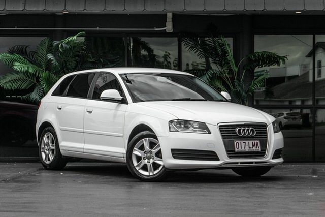 Used Audi A3 8P MY09 TFSI Sportback S Tronic Attraction Bowen Hills, 2009 Audi A3 8P MY09 TFSI Sportback S Tronic Attraction White 7 Speed Sports Automatic Dual Clutch