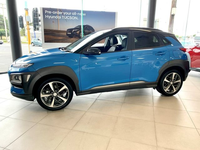 Demo Hyundai Kona OS.3 Highlander Geelong, 2020 Hyundai Kona OS.3 Highlander Blue Sports Automatic Dual Clutch Wagon