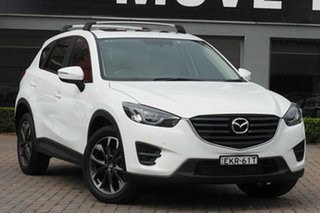 2016 Mazda CX-5 KE1022 Grand Touring SKYACTIV-Drive i-ACTIV AWD White 6 Speed Sports Automatic Wagon.