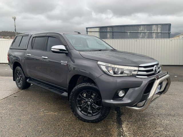 Used Toyota Hilux GUN126R SR5 Double Cab Moonah, 2017 Toyota Hilux GUN126R SR5 Double Cab Grey Seats, Black Rest Fabric 6 Speed Sports Automatic