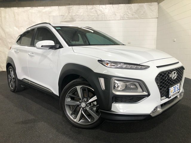 Used Hyundai Kona OS.3 MY20 Highlander D-CT AWD Glenorchy, 2020 Hyundai Kona OS.3 MY20 Highlander D-CT AWD White 7 Speed Sports Automatic Dual Clutch Wagon
