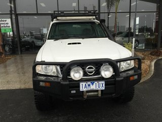 2009 Nissan Patrol GU MY08 DX (4x4) White 5 Speed Manual Leaf Cab Chassis.