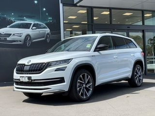 2020 Skoda Kodiaq NS MY20.5 132TSI DSG Sportline White 7 Speed Sports Automatic Dual Clutch Wagon.
