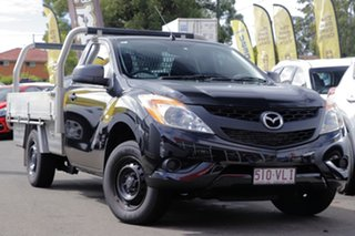 2014 Mazda BT-50 UP0YD1 XT 4x2 Black 6 Speed Manual Cab Chassis.
