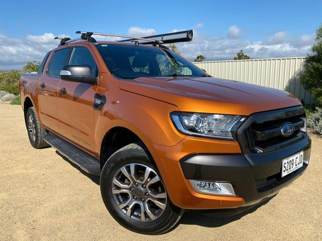 Used Ford Ranger PX MkII Wildtrak Double Cab Christies Beach, 2017 Ford Ranger PX MkII Wildtrak Double Cab Orange 6 Speed Sports Automatic Utility