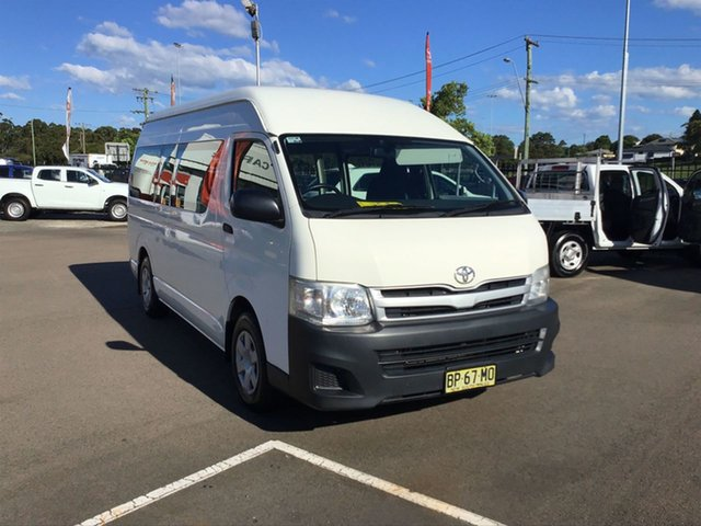 Used Toyota HiAce KDH223R MY12 Commuter High Roof Super LWB Cardiff, 2012 Toyota HiAce KDH223R MY12 Commuter High Roof Super LWB White 4 Speed Automatic Bus