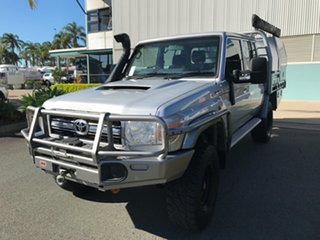 2016 Toyota Landcruiser VDJ79R GXL Double Cab Silver 5 speed Manual Cab Chassis.