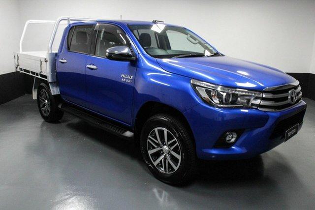 Used Toyota Hilux GUN126R SR5 Double Cab Hamilton, 2018 Toyota Hilux GUN126R SR5 Double Cab Blue 6 Speed Sports Automatic Utility