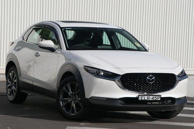 Demo Mazda CX-30 DM4WLA X20 SKYACTIV-Drive i-ACTIV AWD Astina Wollongong, 2020 Mazda CX-30 DM4WLA X20 SKYACTIV-Drive i-ACTIV AWD Astina Snowflake White Pearl 6 Speed