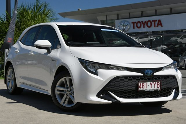 Pre-Owned Toyota Corolla ZWE211R Ascent Sport E-CVT Hybrid North Lakes, 2019 Toyota Corolla ZWE211R Ascent Sport E-CVT Hybrid Glacier White 10 Speed Constant Variable