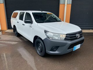 2016 Toyota Hilux TGN121R Workmate Double Cab 4x2 White 5 Speed Manual Utility.