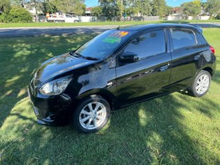 2013 Mitsubishi Mirage LA MY14 ES Black 5 Speed Manual Hatchback.
