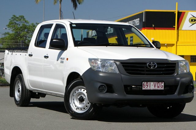 Used Toyota Hilux TGN16R MY14 Workmate Double Cab 4x2 Rocklea, 2015 Toyota Hilux TGN16R MY14 Workmate Double Cab 4x2 Glacier White 4 Speed Automatic Utility
