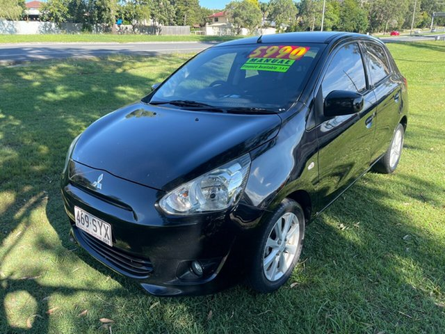 Used Mitsubishi Mirage LA MY14 ES Clontarf, 2013 Mitsubishi Mirage LA MY14 ES Black 5 Speed Manual Hatchback