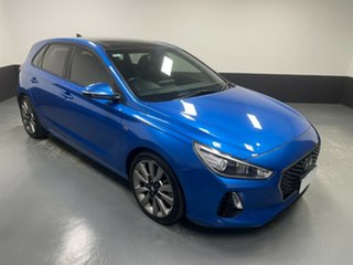 2017 Hyundai i30 PD MY18 SR D-CT Marina Blue 7 Speed Sports Automatic Dual Clutch Hatchback.
