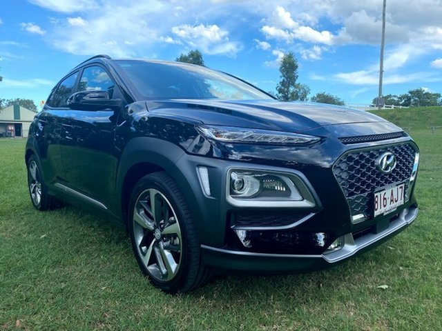 Demo Hyundai Kona OS.3 MY20 Highlander 2WD Mount Gravatt, 2020 Hyundai Kona OS.3 MY20 Highlander 2WD Phantom Black 6 Speed Sports Automatic Wagon