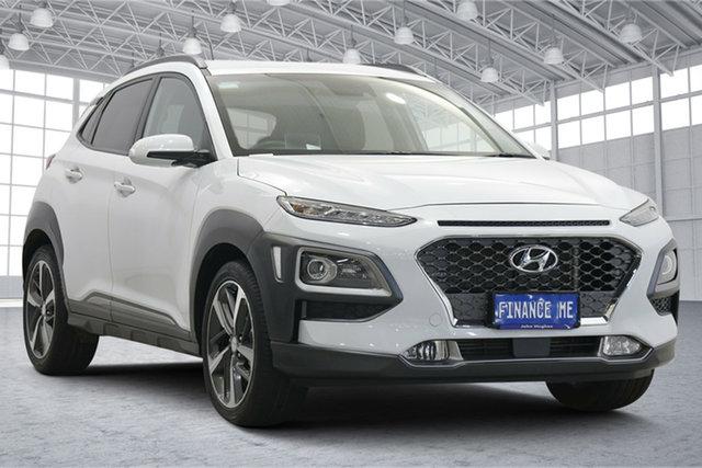 Used Hyundai Kona OS.2 MY19 Highlander D-CT AWD Victoria Park, 2019 Hyundai Kona OS.2 MY19 Highlander D-CT AWD White 7 Speed Sports Automatic Dual Clutch Wagon