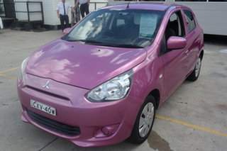 2013 Mitsubishi Mirage LA MY14 ES Pink 1 Speed Constant Variable Hatchback.
