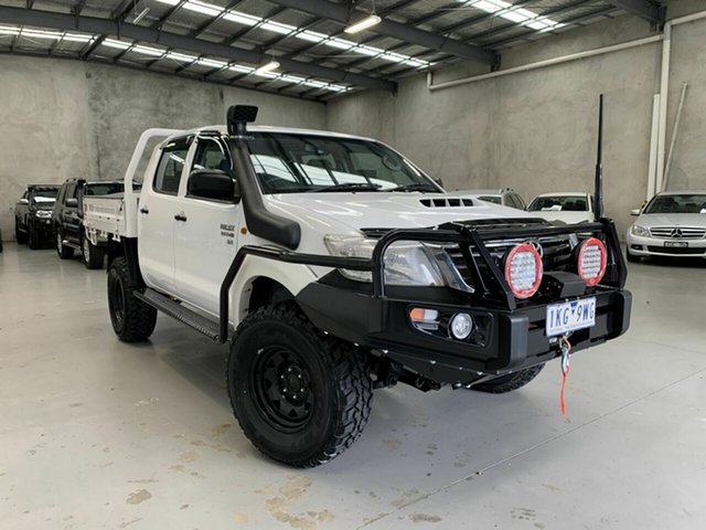 Used Toyota Hilux KUN26R MY12 SR Double Cab Coburg North, 2012 Toyota Hilux KUN26R MY12 SR Double Cab White 5 Speed Manual Cab Chassis