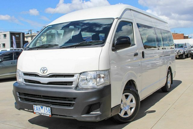 Used Toyota HiAce KDH223R MY12 Commuter High Roof Super LWB Coburg North, 2012 Toyota HiAce KDH223R MY12 Commuter High Roof Super LWB White 4 Speed Automatic Bus