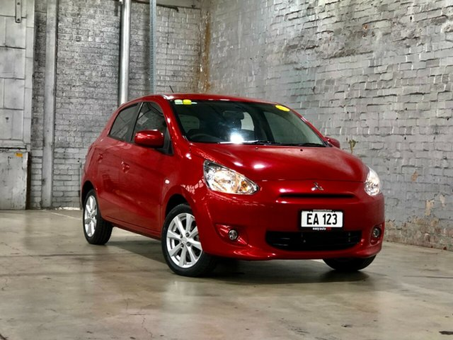 Used Mitsubishi Mirage LA MY15 ES Mile End South, 2015 Mitsubishi Mirage LA MY15 ES Red 1 Speed Constant Variable Hatchback