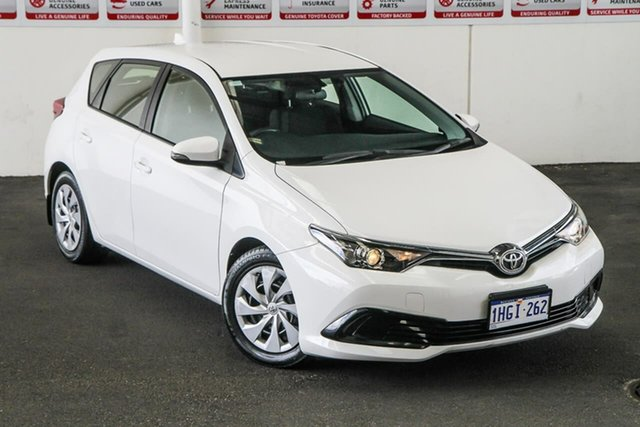 Pre-Owned Toyota Corolla ZRE182R MY15 Ascent Myaree, 2015 Toyota Corolla ZRE182R MY15 Ascent Glacier White 7 Speed CVT Auto Sequential Hatchback
