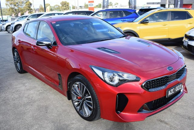 Used Kia Stinger CK MY19 330S Fastback Ferntree Gully, 2019 Kia Stinger CK MY19 330S Fastback Hichroma Red/black 8 Speed Sports Automatic Sedan