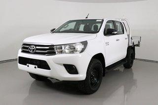 2016 Toyota Hilux GUN126R SR (4x4) White 6 Speed Manual Dual Cab Chassis.