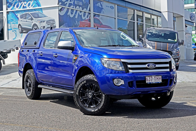 Used Ford Ranger PX XLS Double Cab Springwood, 2013 Ford Ranger PX XLS Double Cab Blue 6 Speed Manual Utility