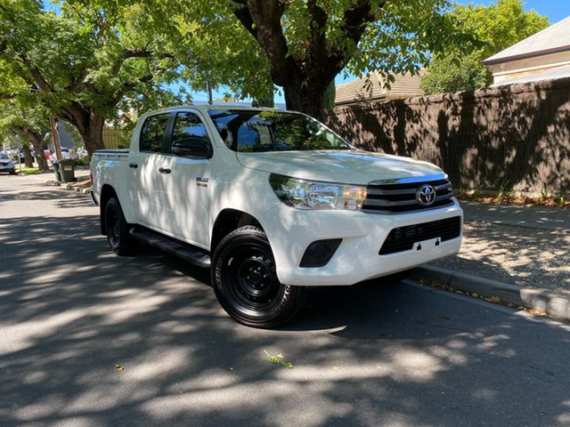 Used Toyota Hilux GUN126R SR Double Cab Hawthorn, 2017 Toyota Hilux GUN126R SR Double Cab White 6 Speed Sports Automatic Cab Chassis
