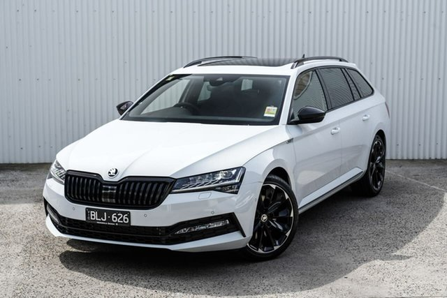 Demo Skoda Superb NP MY21 206TSI DSG SportLine Seaford, 2020 Skoda Superb NP MY21 206TSI DSG SportLine White 6 Speed Sports Automatic Dual Clutch Wagon
