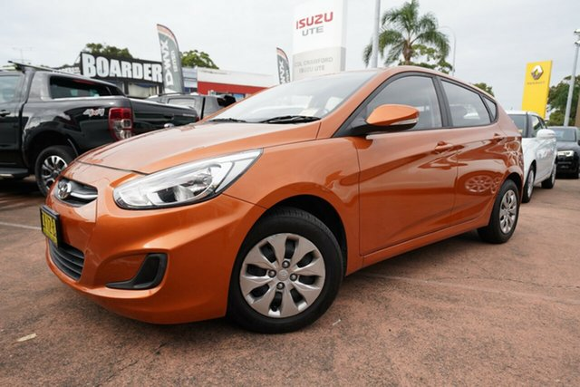 Used Hyundai Accent RB3 MY16 Active Brookvale, 2016 Hyundai Accent RB3 MY16 Active Orange 6 Speed Manual Hatchback