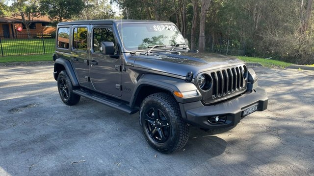 Demo Jeep Wrangler JL MY21 Unlimited Night Eagle Port Macquarie, 2021 Jeep Wrangler JL MY21 Unlimited Night Eagle Granite Crystal 8 Speed Automatic Hardtop