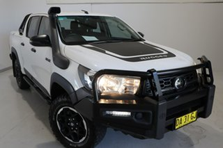 2019 Toyota Hilux GUN126R Rugged Double Cab White 6 Speed Sports Automatic Utility.