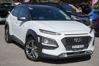 2018 Hyundai Kona OS MY18 Highlander D-CT AWD White 7 Speed Sports Automatic Dual Clutch Wagon.