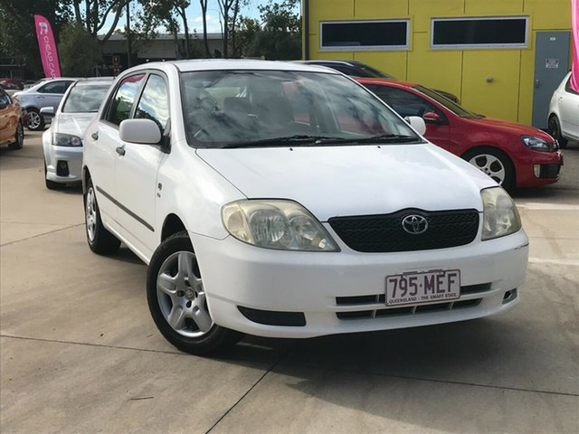 Used Toyota Corolla ZZE122R Ascent Toowoomba, 2003 Toyota Corolla ZZE122R Ascent White 4 Speed Automatic Hatchback