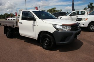 2016 Toyota Hilux TGN121R Workmate 4x2 Glacier White 5 Speed Manual Cab Chassis.