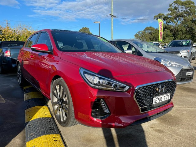 Used Hyundai i30 PD MY18 SR D-CT Premium Glendale, 2017 Hyundai i30 PD MY18 SR D-CT Premium Red 7 Speed Sports Automatic Dual Clutch Hatchback