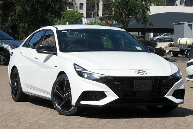 New Hyundai i30 CN7.V1 MY21 N Line D-CT Aspley, 2020 Hyundai i30 CN7.V1 MY21 N Line D-CT Polar White 7 Speed Sports Automatic Dual Clutch Sedan