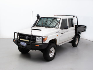 2014 Toyota Landcruiser VDJ79R MY12 Update Workmate (4x4) White 5 Speed Manual Double Cab Chassis