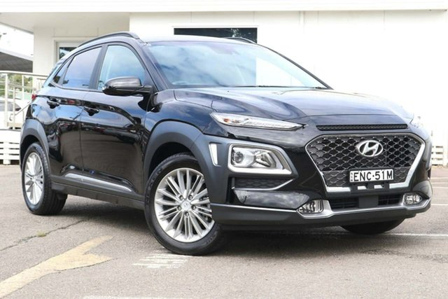 Used Hyundai Kona OS.2 MY19 Elite 2WD North Gosford, 2019 Hyundai Kona OS.2 MY19 Elite 2WD Black 6 Speed Sports Automatic Wagon