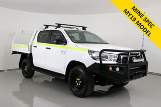 2018 Toyota Hilux GUN126R MY19 SR (4x4) White 6 Speed Automatic Double Cab Chassis.