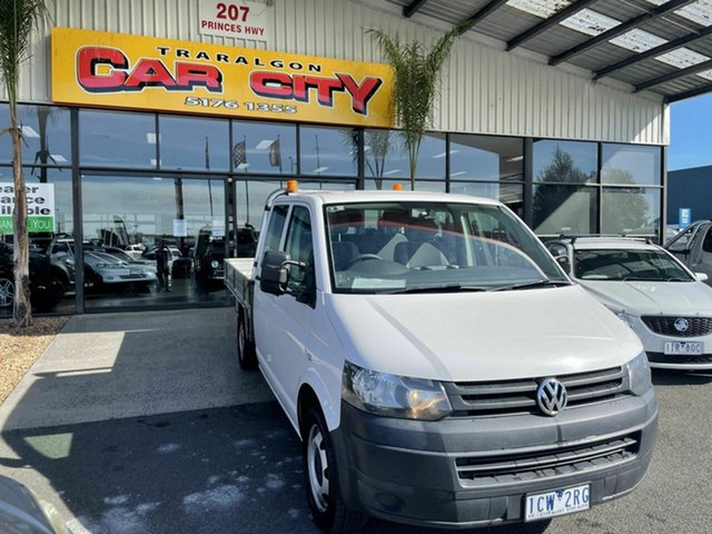 Used Volkswagen Transporter T5 MY13 TDI 400 LWB Traralgon, 2014 Volkswagen Transporter T5 MY13 TDI 400 LWB White 7 Speed Auto Direct Shift Dual Cab Chassis