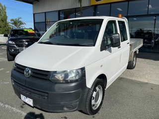2014 Volkswagen Transporter T5 MY13 TDI 400 LWB White 7 Speed Auto Direct Shift Dual Cab Chassis