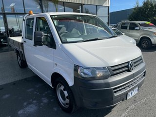 2014 Volkswagen Transporter T5 MY13 TDI 400 LWB White 7 Speed Auto Direct Shift Dual Cab Chassis.