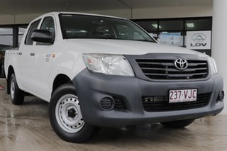 2014 Toyota Hilux TGN16R MY14 Workmate Double Cab 4x2 Glacier White 4 Speed Automatic Utility.
