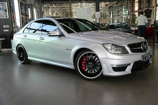 2013 Mercedes-Benz C-Class W204 MY13 C63 AMG SPEEDSHIFT MCT Performance Package Plus Silver 7 Speed.