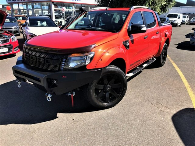 Used Ford Ranger PX Wildtrak Double Cab Seaford, 2012 Ford Ranger PX Wildtrak Double Cab Orange 6 Speed Sports Automatic Utility