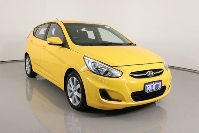 Used Hyundai Accent RB5 Sport Bentley, 2017 Hyundai Accent RB5 Sport Yellow 6 Speed Automatic Hatchback